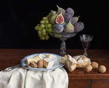 Still life with cheese, figs and grapes / Charlotte Fröling