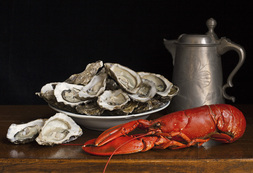 Still life with lobster, oysters and a tin pot / Charlotte Fröling