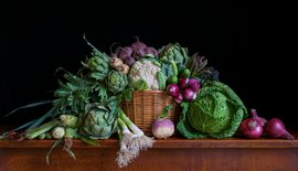 Still life with vegetables and a snail / Charlotte Fröling